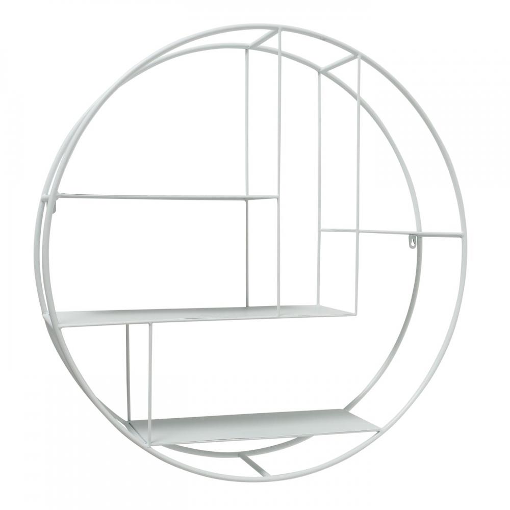 Raft metalic de perete rotund Carlton D76cm alb imagine 2021 insignis.ro