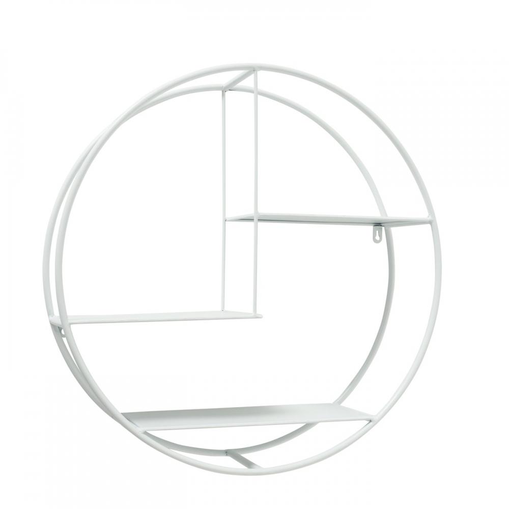 Raft metalic de perete rotund Carlton D55cm alb imagine 2021 insignis.ro
