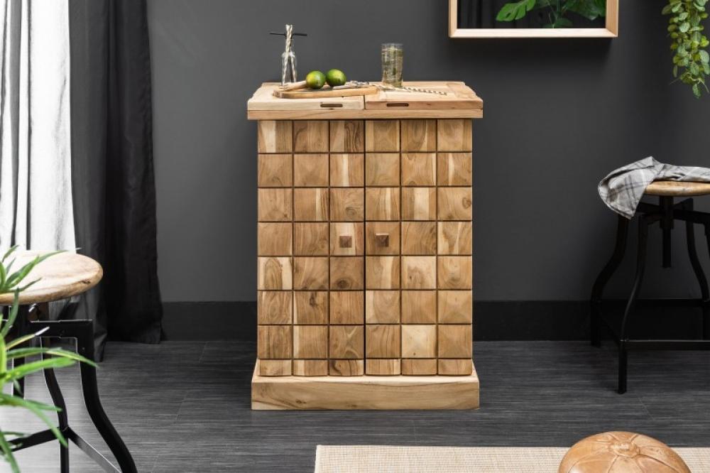 Bar din lemn masiv de salcam Mosaico L65-130 x H90 x l50cm