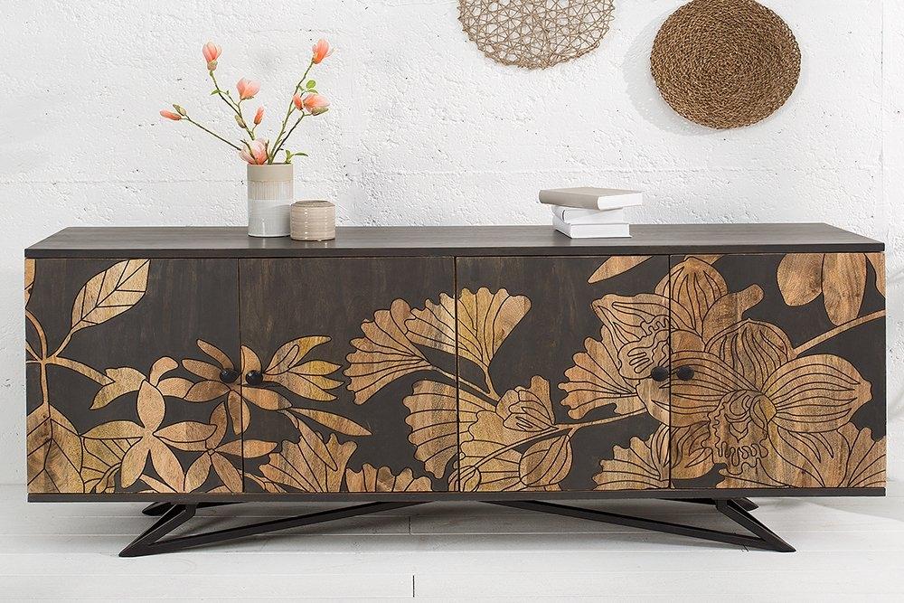 Comoda din lemn masiv de mango decorata cu flori sculptate manual Sakura L175cm x H75cm x l45cm