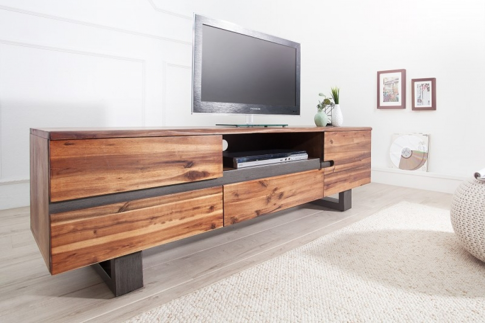 Comoda TV din lemn de salcam Genesis L160cm imagine 2021 insignis.ro