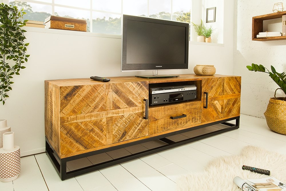 Comoda TV din lemn de mango Infinity L160cm imagine 2021 insignis.ro