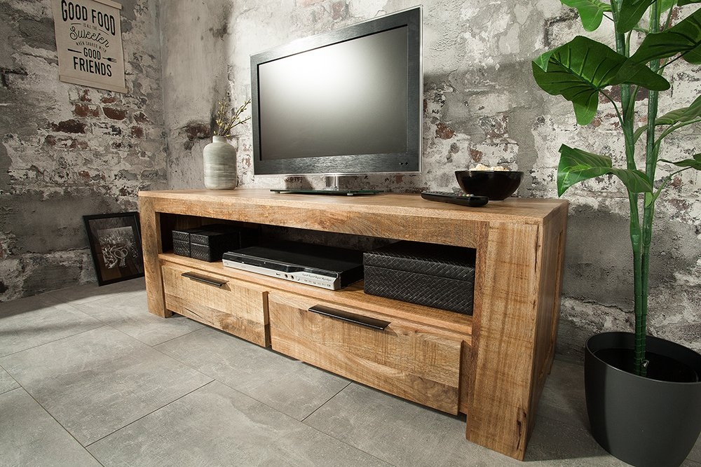 Comoda TV din lemn masiv de mango cu finisaj natural TV IronCraft L130cm imagine 2021 insignis.ro