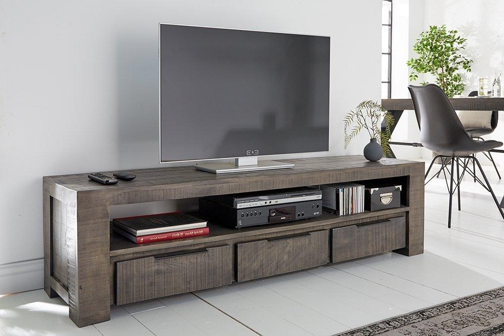 Comoda TV din lemn masiv de mango finisaj gri IronCraft L170cm imagine 2021 insignis.ro