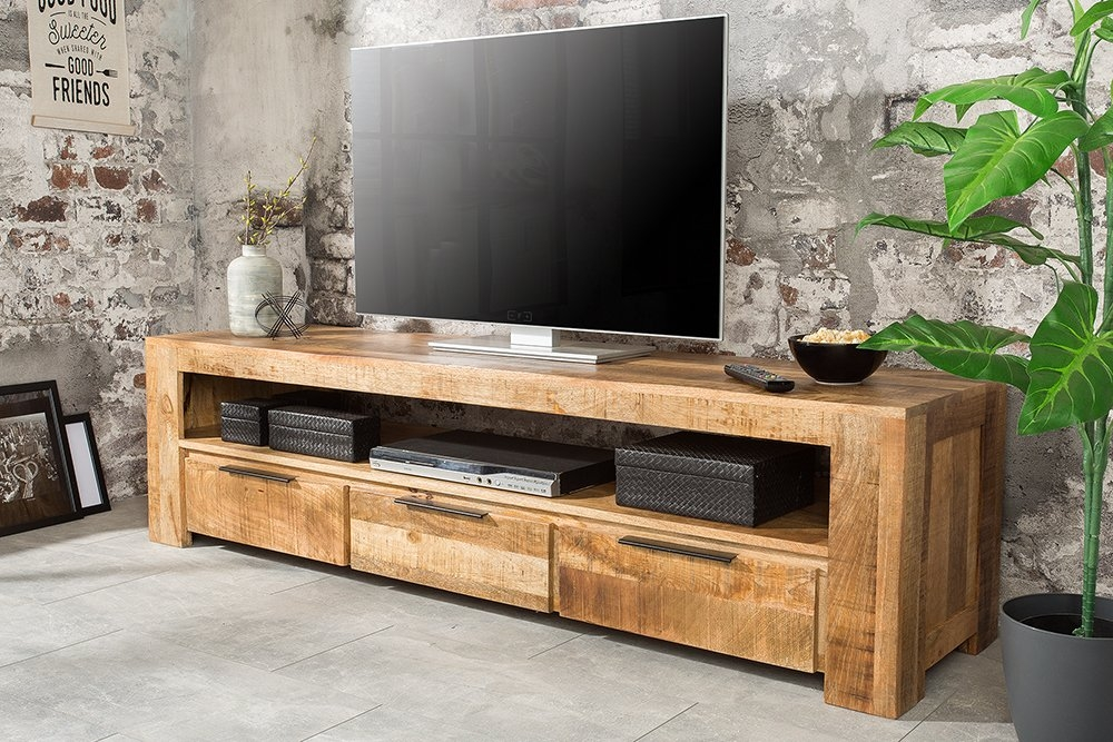 Comoda TV din lemn masiv de mango finisaj natural IronCraft L170cm imagine 2021 insignis.ro