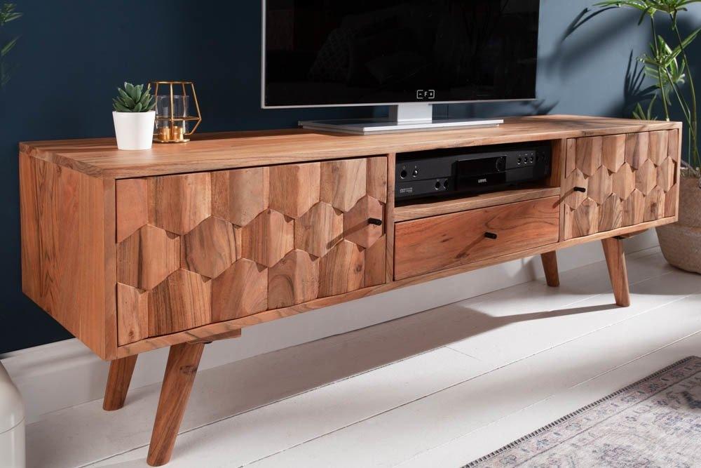 Comoda TV din lemn masiv de salcam Mystic L140cm imagine 2021 insignis.ro