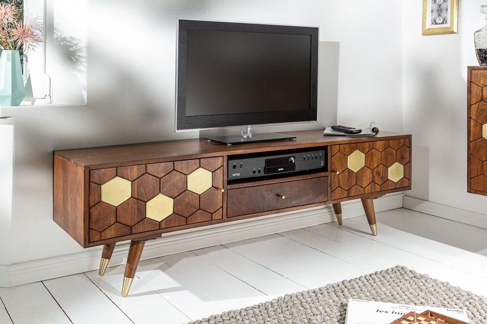 Comoda TV din lemn masiv de salcam Mystic Living L140cm