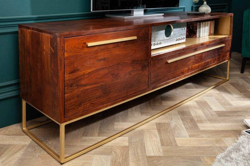 Comoda TV din lemn masiv de salcam Straight L165cm imagine 2021 insignis.ro