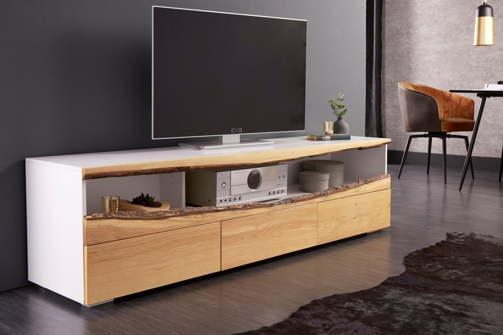 Comoda TV din lemn masiv de stejar Wild L180cm alb mat imagine 2021 insignis.ro