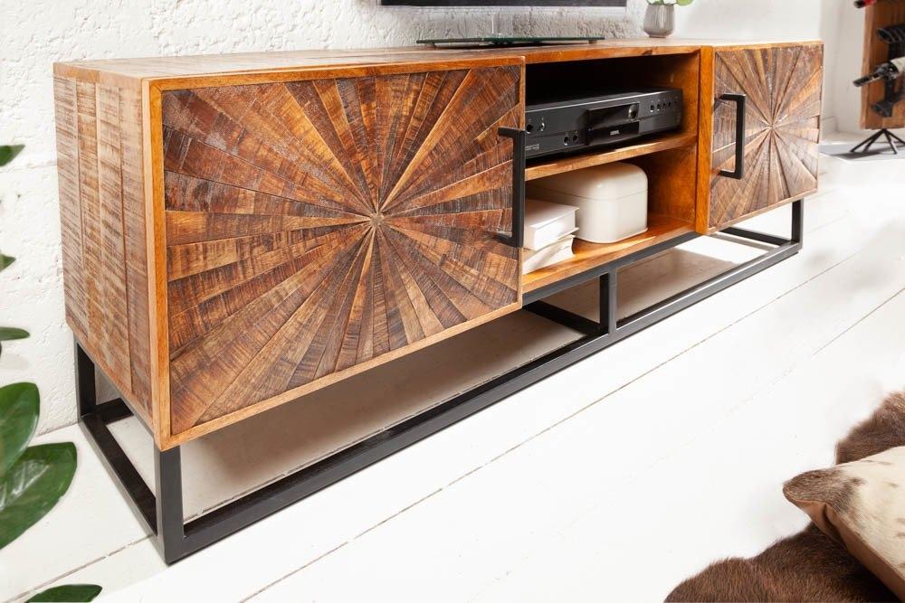Comoda TV din lemn masiv de mango Wood Art L145cm imagine 2021 insignis.ro