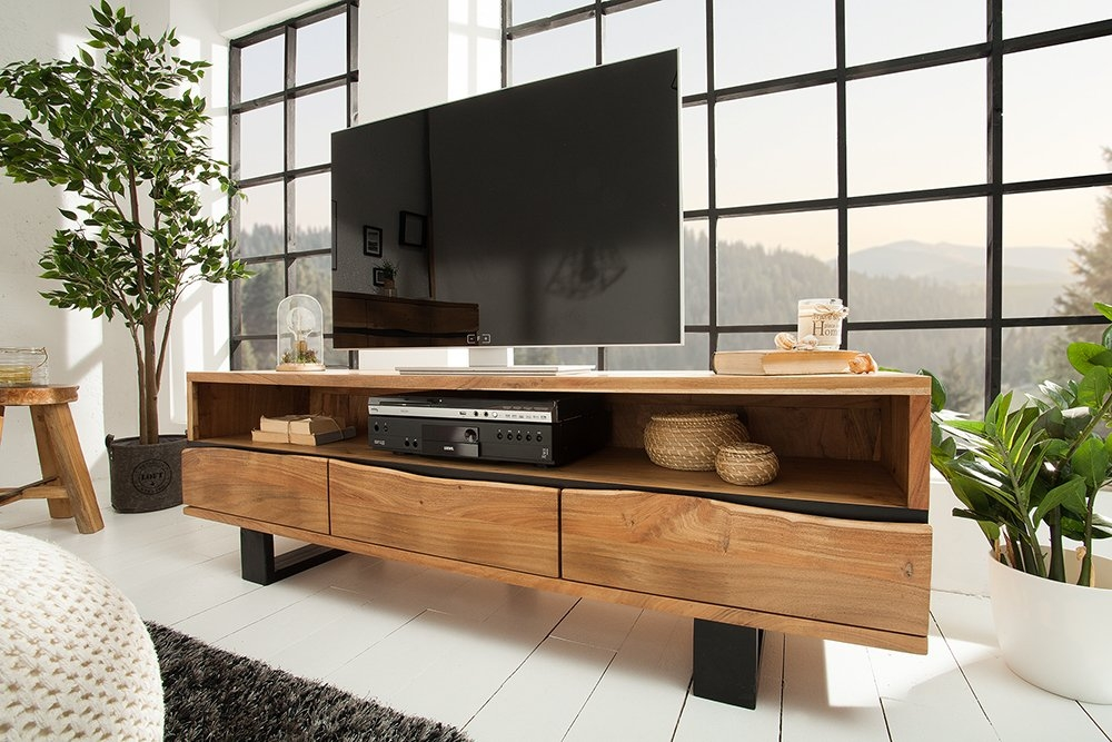 Comoda TV din lemn masiv de salcam Akazie L160cm imagine 2021 insignis.ro