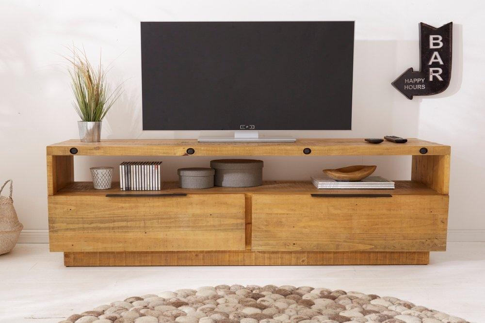Comoda TV din lemn masiv de pin cu finisaj natural Finca L150cm imagine 2021 insignis.ro