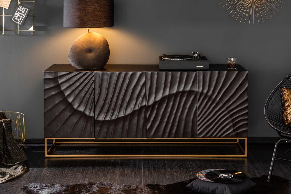 Comoda din lemn masiv de mango Scorpion L177cm negru imagine 2021 insignis.ro