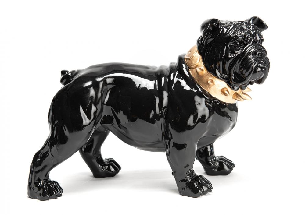 Statueta decorativa Bulldog Negru L53cm imagine 2021 insignis.ro
