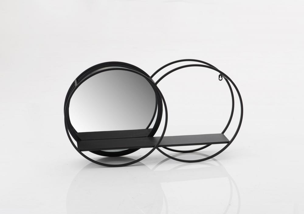 Raf de perete rotund cu oglinda Double L40xH70xl13 imagine 2021 insignis.ro