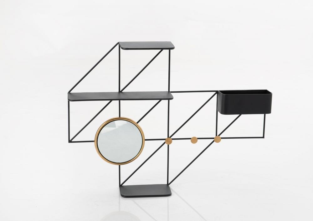 Raft de perete cu oglinda si cuier Geometry L59xH78xl12.5 imagine 2021 insignis.ro