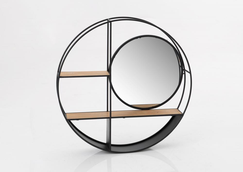 Raft rotund de perete cu oglinda Niko D72cm imagine 2021 insignis.ro