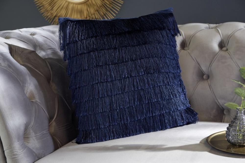Perna decorativa de catifea cu franjuri albastru inchis 40x40cm imagine 2021 insignis.ro