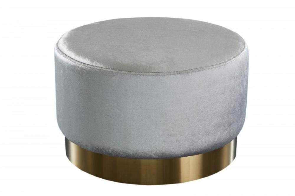 Puf tapitat cu catifea gri argintiu si baza aurie Safie D55cm