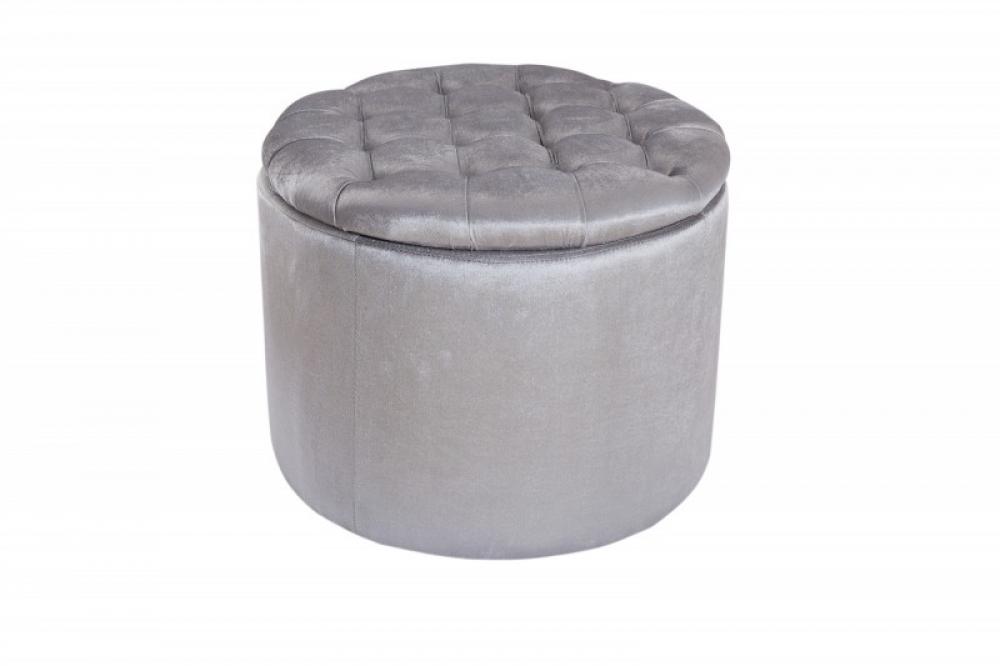 Puf cu spatiu de depozitare tapitat cu catifea gri argintiu Saft D50cm imagine 2021 insignis.ro