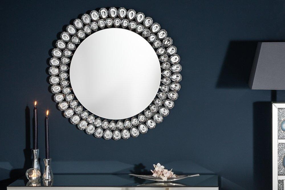Oglinda decorativa de perete Diamonds D80cm cu cristale de sticla imagine 2021 insignis.ro