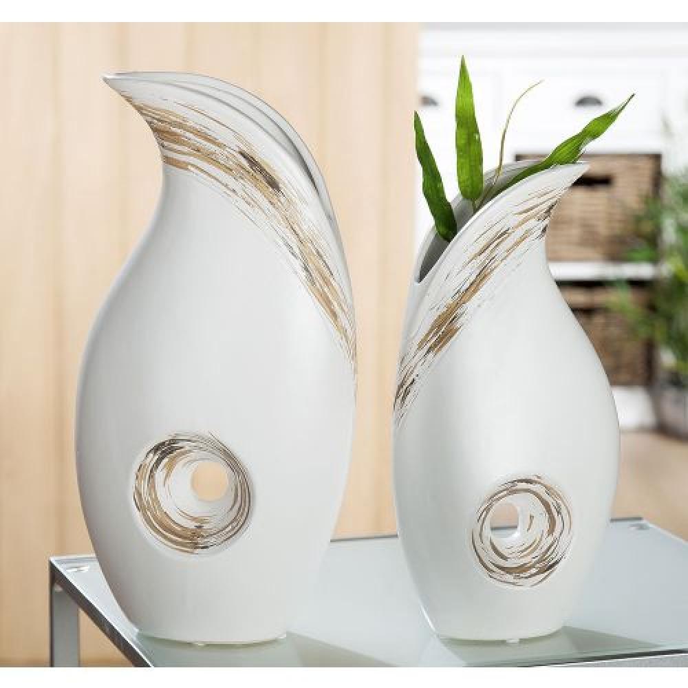 Vaza decorativa din ceramica Linea alb mat H35cm imagine 2021 insignis.ro