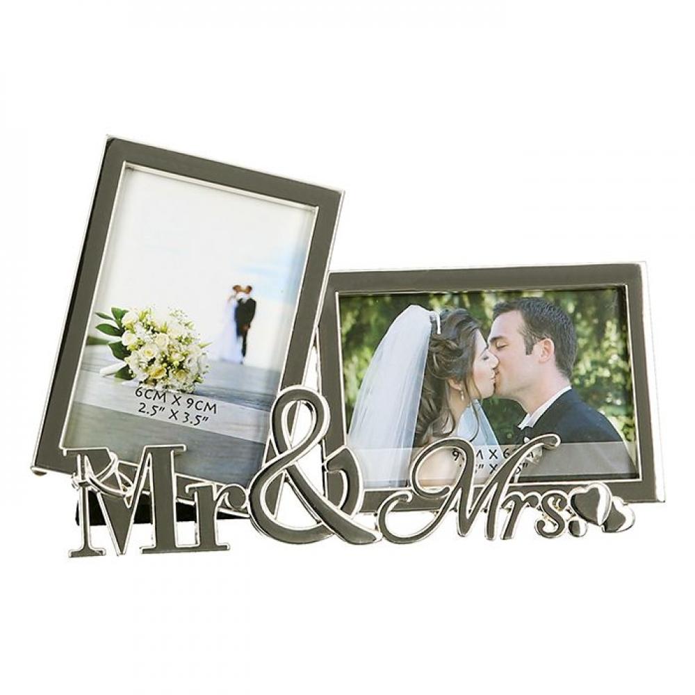 Rama decorativa pentru 2fotografii Mr & Mrs 17x11cm imagine 2021 insignis.ro