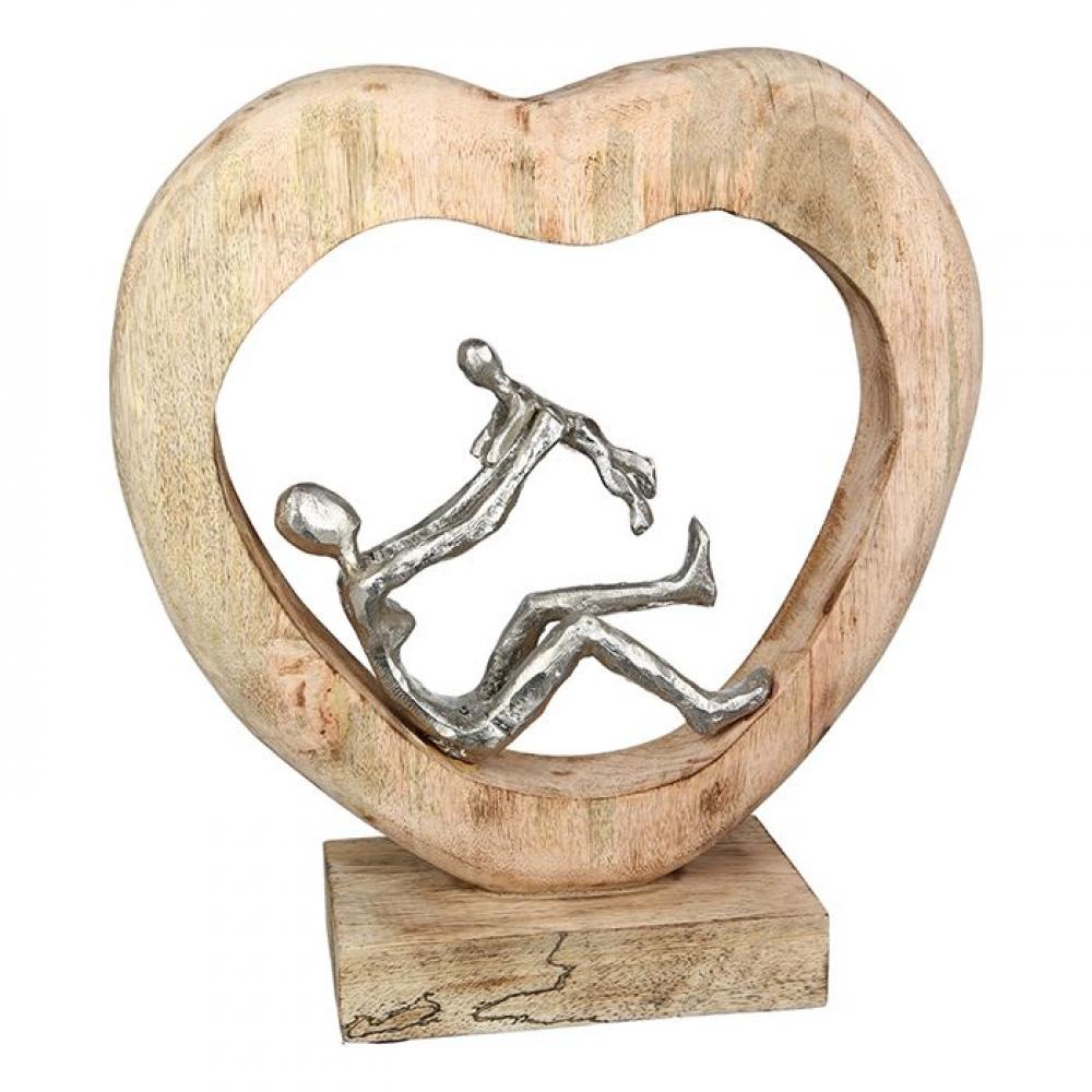 Statueta decorativa din lemn de mango si aluminiu Child Love H30cm imagine 2021 insignis.ro