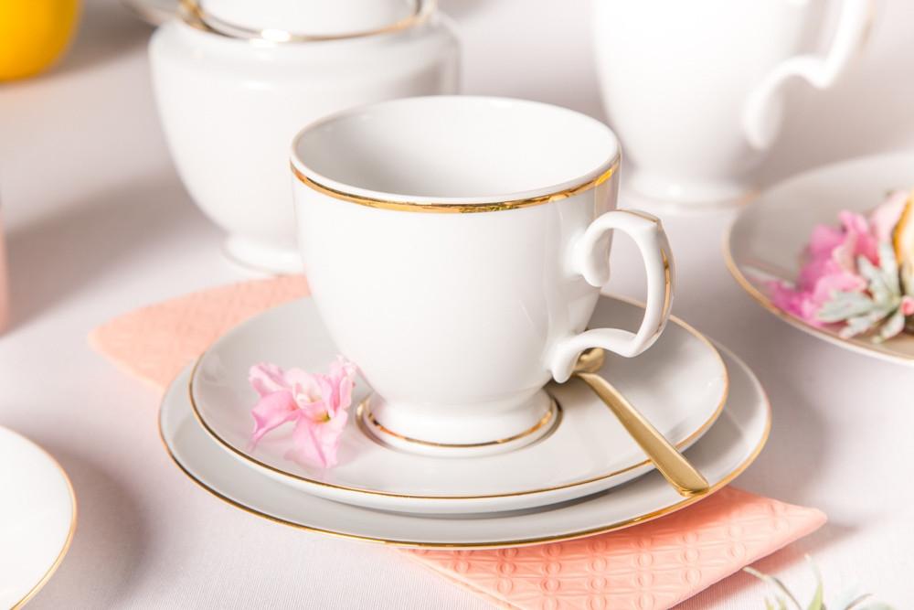 Serviciu de cafea pentru 6 persoane din portelan MariaPaula GoldLine 18piese imagine 2021 insignis.ro