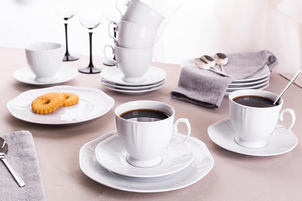 Serviciu cafea/ceai pentru 6 persoane din portelan MariaPaula Geometria Bianco 18piese imagine 2021 insignis.ro
