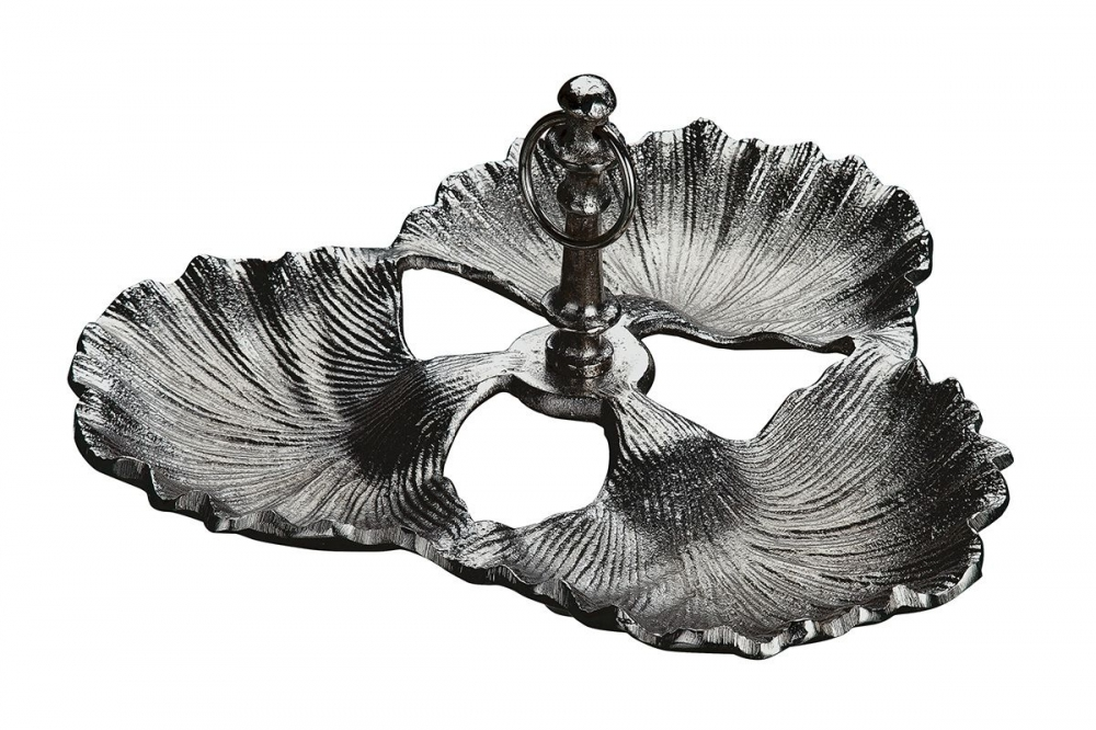 Platou decorativ din aluminiu in forma de frunze de Ginkgo D33cm imagine 2021 insignis.ro