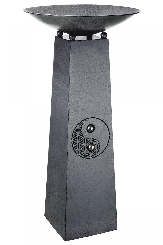 Bol decorativ din metal cu suport Yin Yang H102cm imagine 2021 insignis.ro