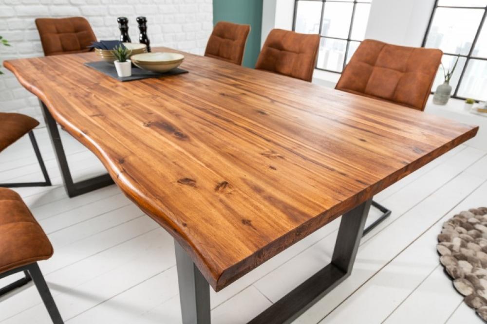 Masa cu blat din lemn de salcam cu margine naturala si cadru metalic Genesis L160cm imagine 2021 insignis.ro