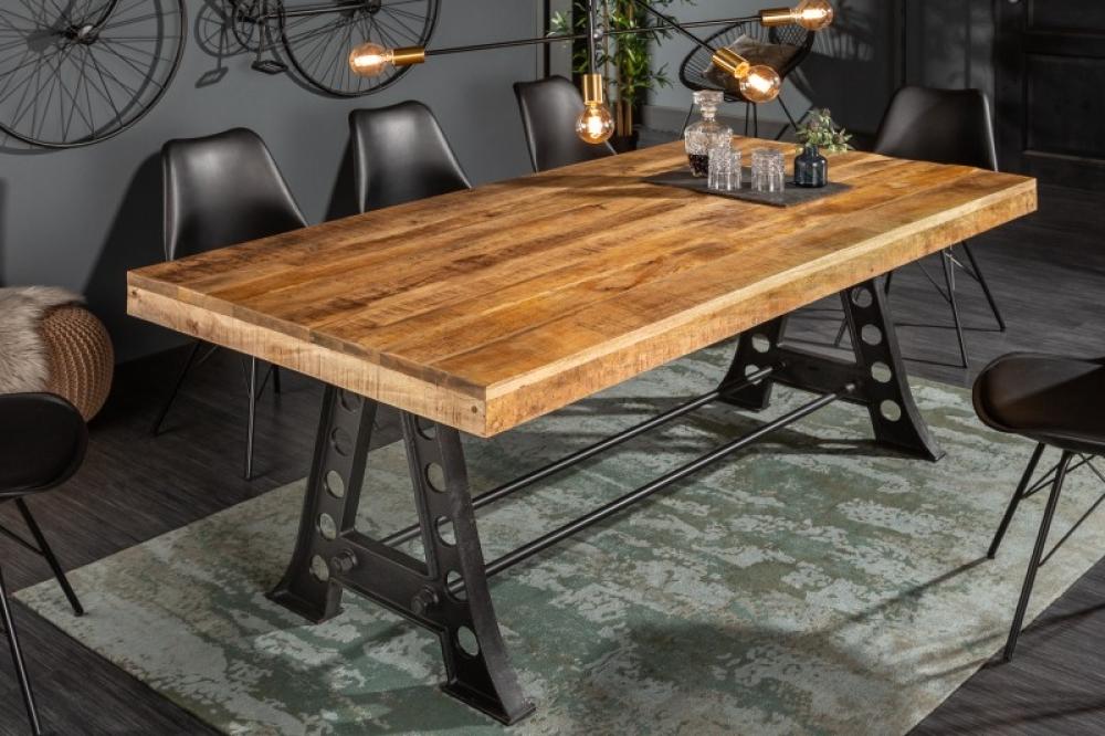 Masa Industrial blat din lemn de mango cu cadru din metal negru L200cm imagine 2021 insignis.ro