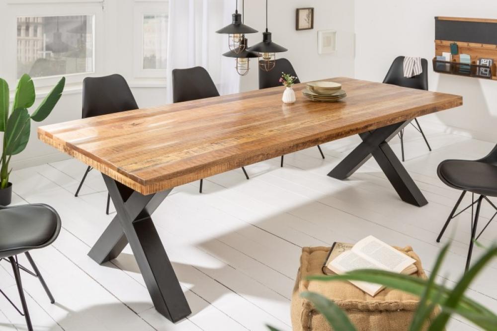 Masa Iron Craft L240cm lemn de mango natural si cadru metalic imagine 2021 insignis.ro