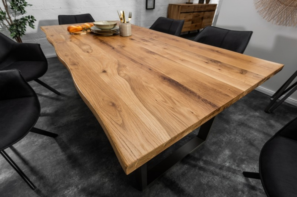 Masa din lemn masiv de salcam cu margine naturala Wild L180cm grosime blat 3.5cm imagine 2021 insignis.ro