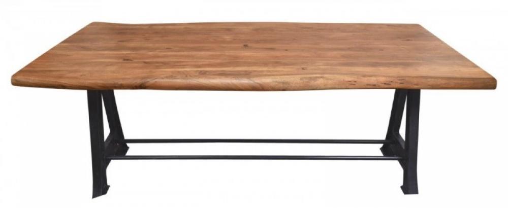 Masa Industrial blat din lemn de salcam cu cadru din metal negru L220cm imagine 2021 insignis.ro