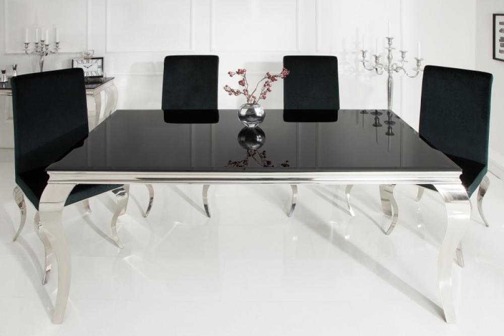 Masa eleganta cu design modern Baroque L180cm blat din sticla opal negru imagine 2021 insignis.ro