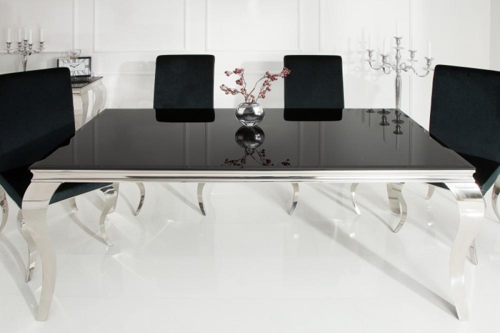 Masa eleganta cu design modern Baroque L200cm blat din sticla opal negru imagine 2021 insignis.ro