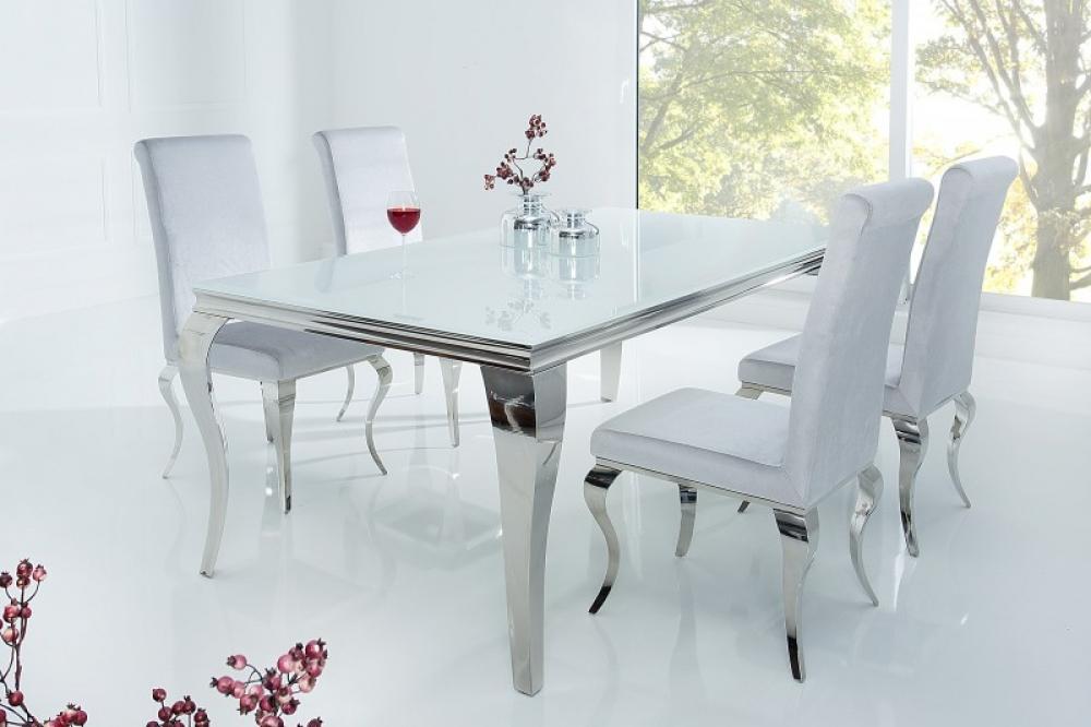 Masa eleganta cu design modern Baroque L180cm blat din sticla opal alb imagine 2021 insignis.ro