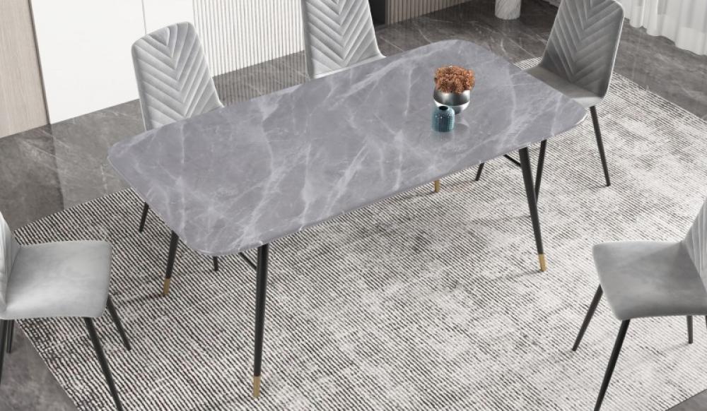 Masa cu blat de sticla aspect de marmura gri Paris L180cm imagine 2021 insignis.ro