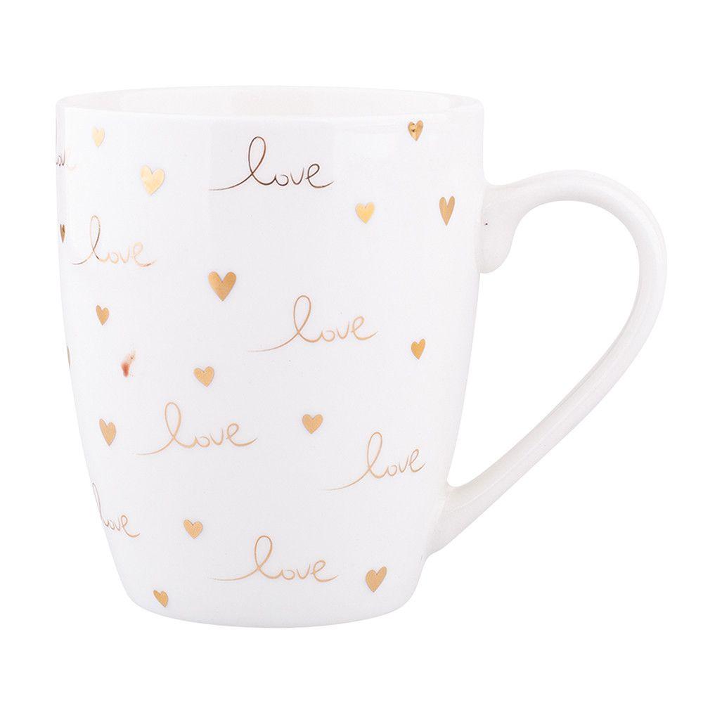 Cana de cafea si ceai din portelan Design Love 300 ml imagine 2021 insignis.ro