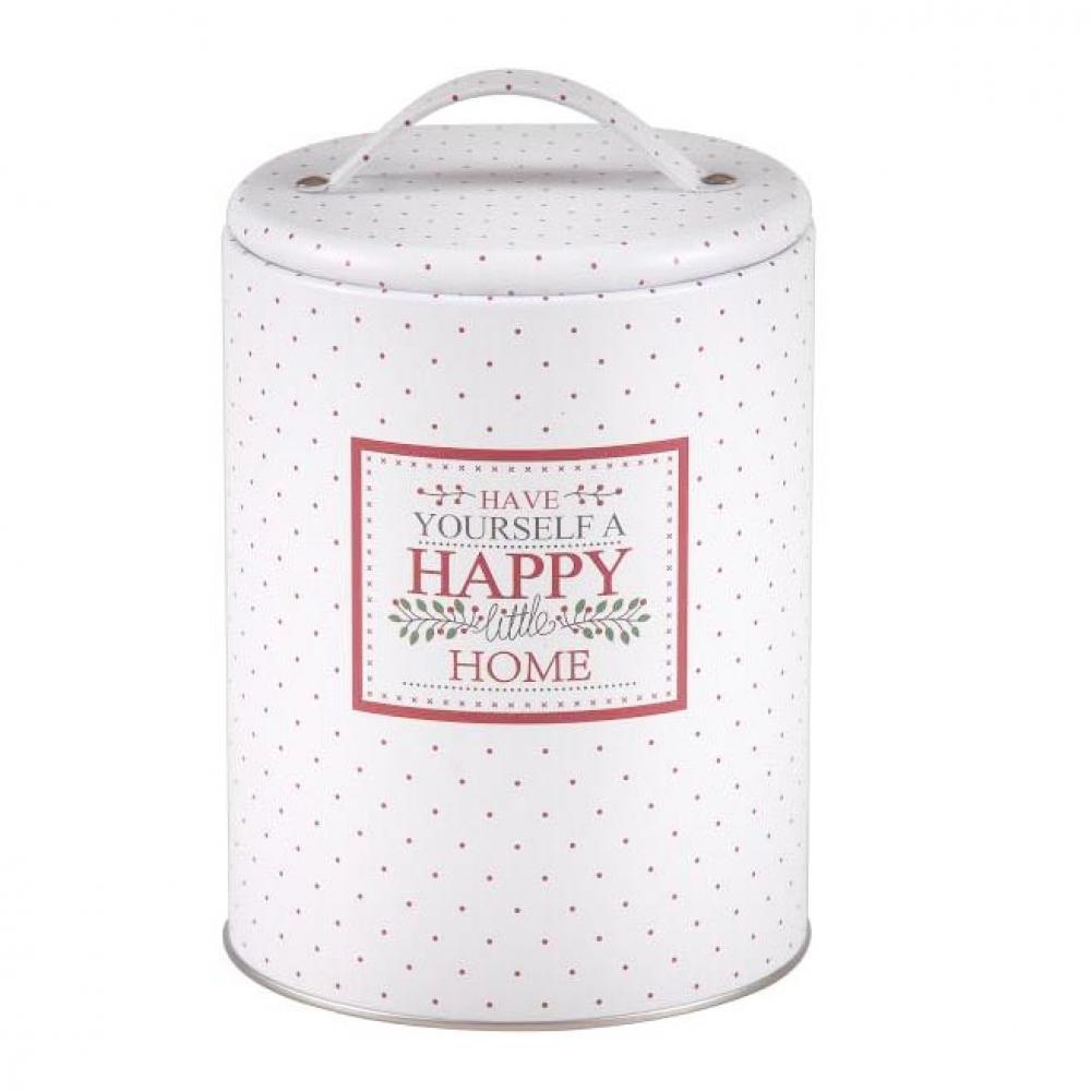 Cutie / recipient pentru depozitare rotunda cu capac si maner HappyHome alb imagine 2021 insignis.ro