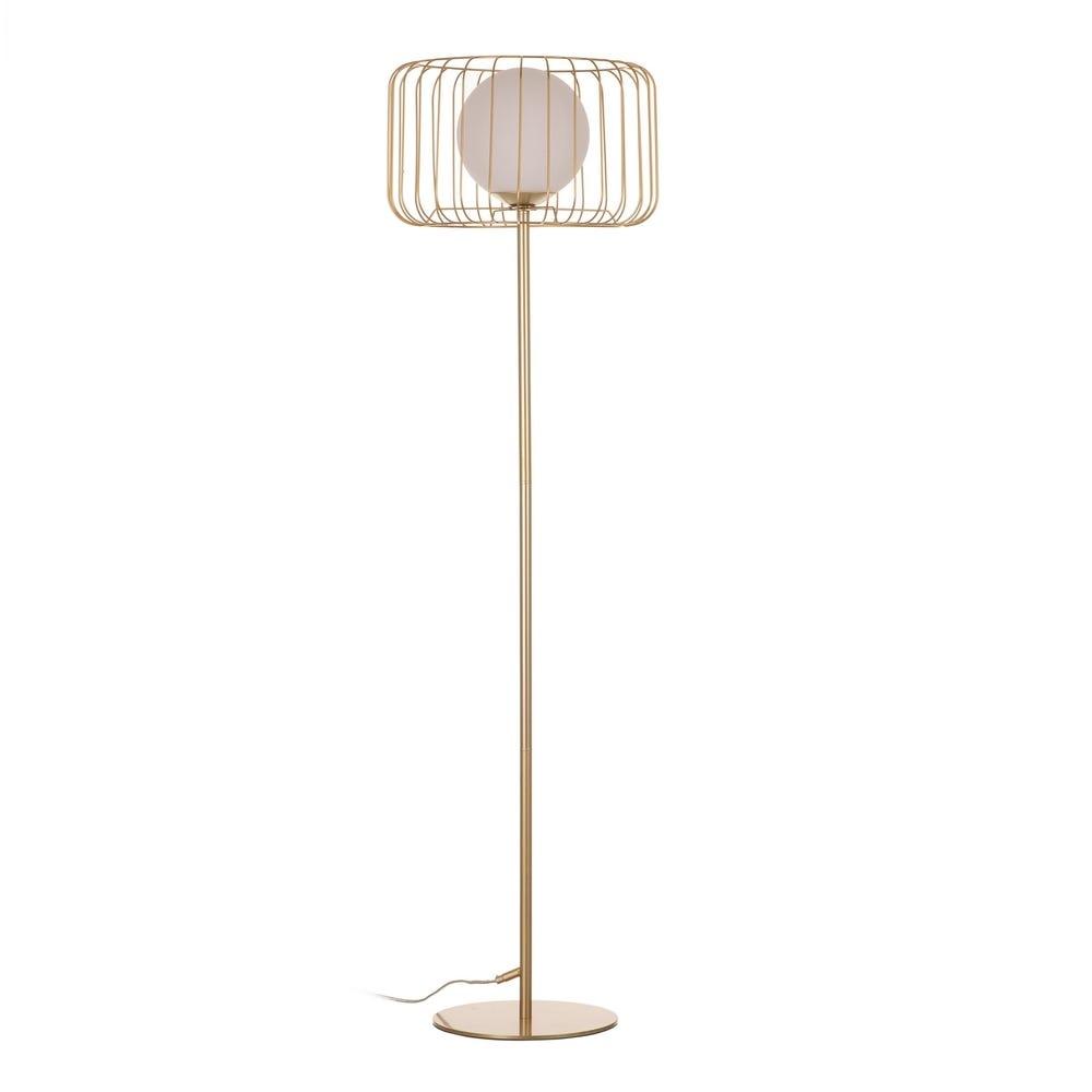 Lampa de podea Cage Auriu 1xE27 D40cm imagine 2021 insignis.ro