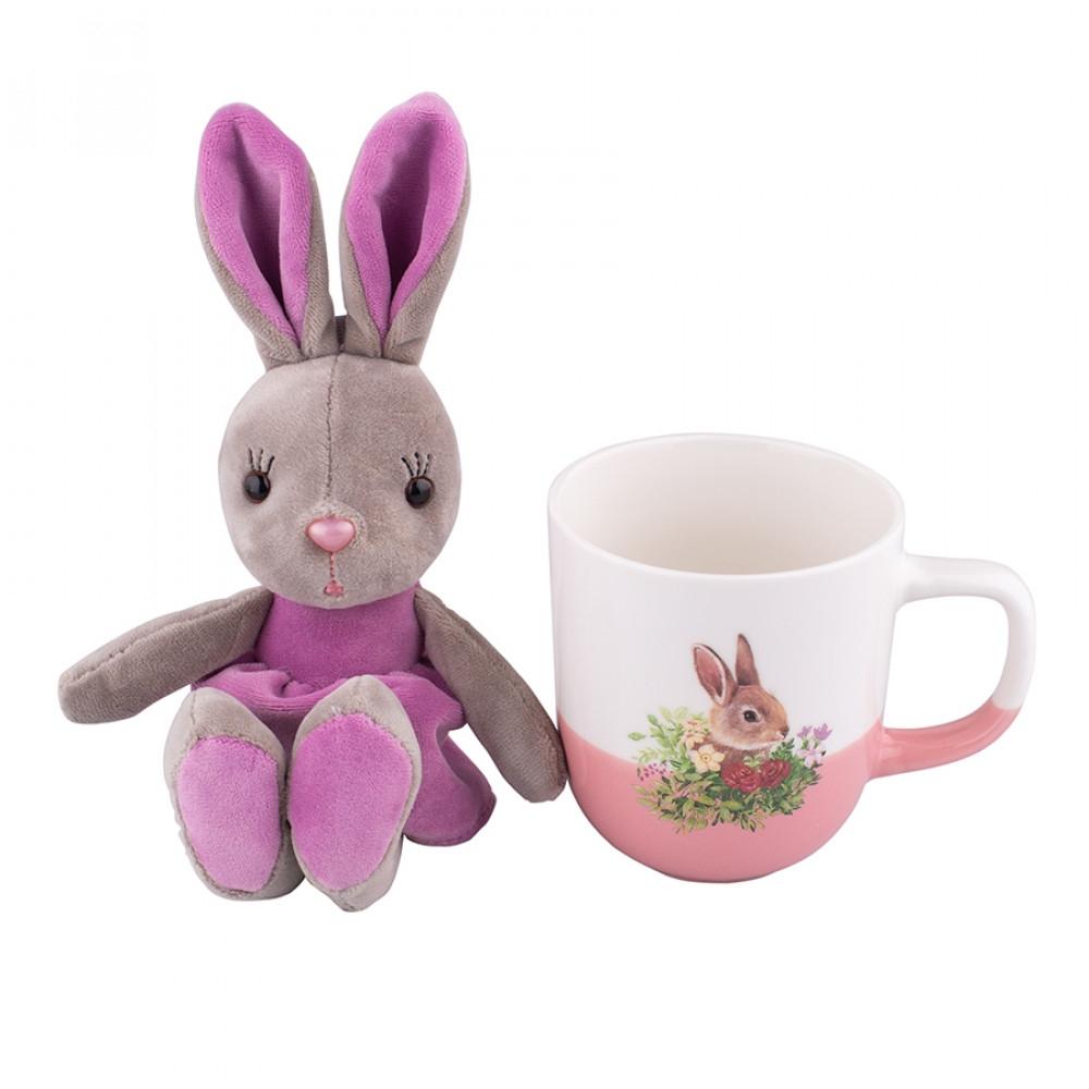 Cana de paste din portelan cu jucarie de plus Easter Bunny Violet 300ml imagine 2021 insignis.ro