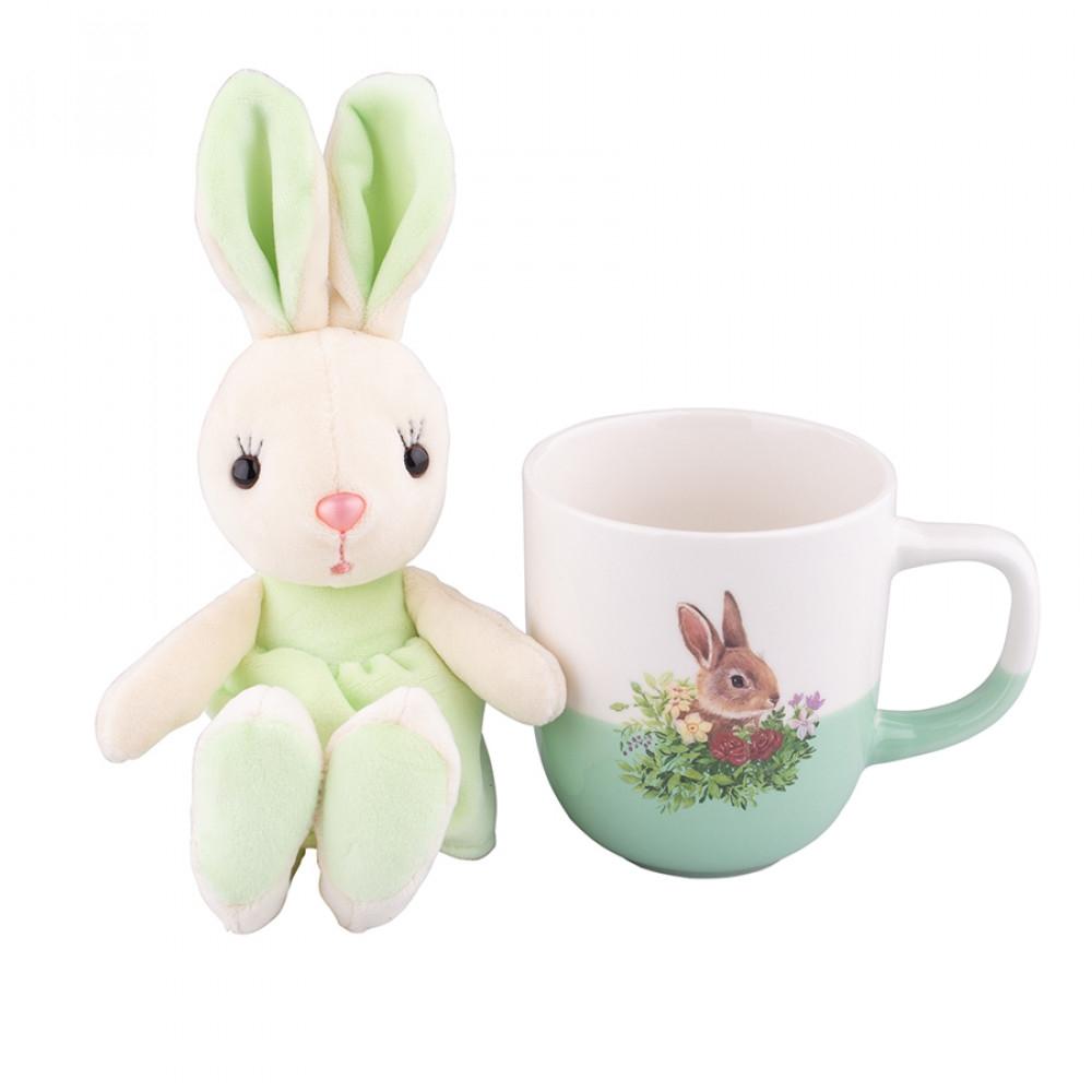 Cana de paste din portelan cu jucarie de plus Easter Bunny Verde 300ml imagine 2021 insignis.ro