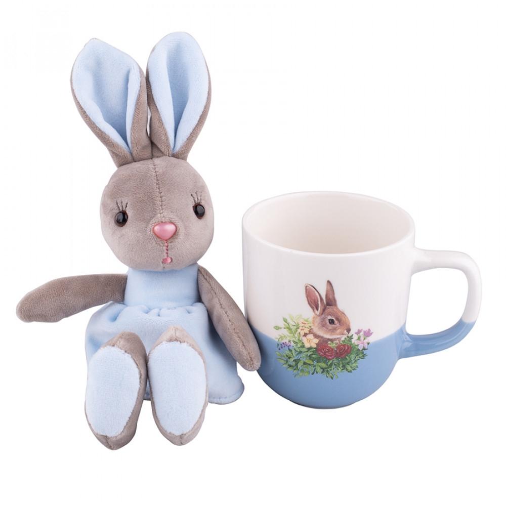 Cana de paste din portelan cu jucarie de plus Easter Bunny Albastru 300ml imagine 2021 insignis.ro