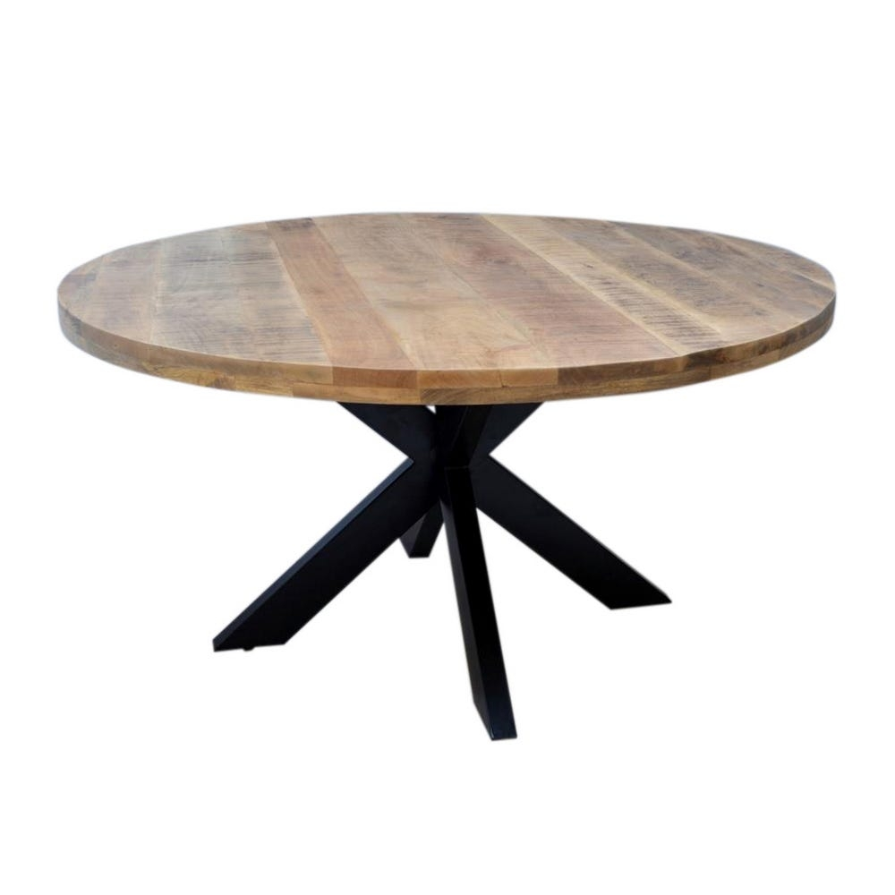 Masa rotunda cu blat din lemn de mango Tommy D120cm imagine 2021 insignis.ro