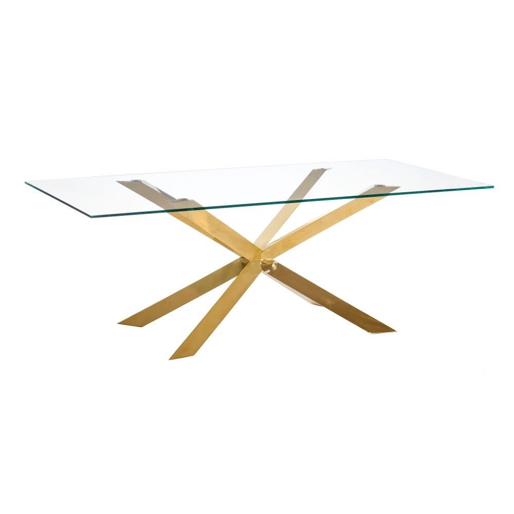 Masa dreptunghiulara cu blat din sticla transparenta Pam L200cm imagine 2021 insignis.ro