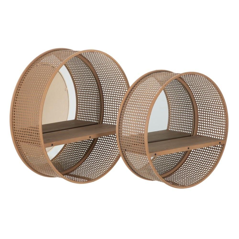 Set 2 rafturi cu oglinda si polita din lemn de brad Rustic L61cm imagine 2021 insignis.ro